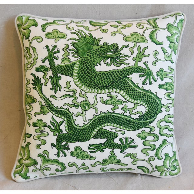 "Scalamandre Italian Chinoiserie Scalamandre Dragon Feather/Down Pillow 19"" Square For Sale - Image 4 of 8"