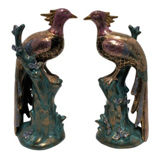 Mid-Century Black and Gold Peacock Birds - a Pair For Sale