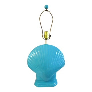 1980s Turquoise Shell Ceramic Lamp For Sale