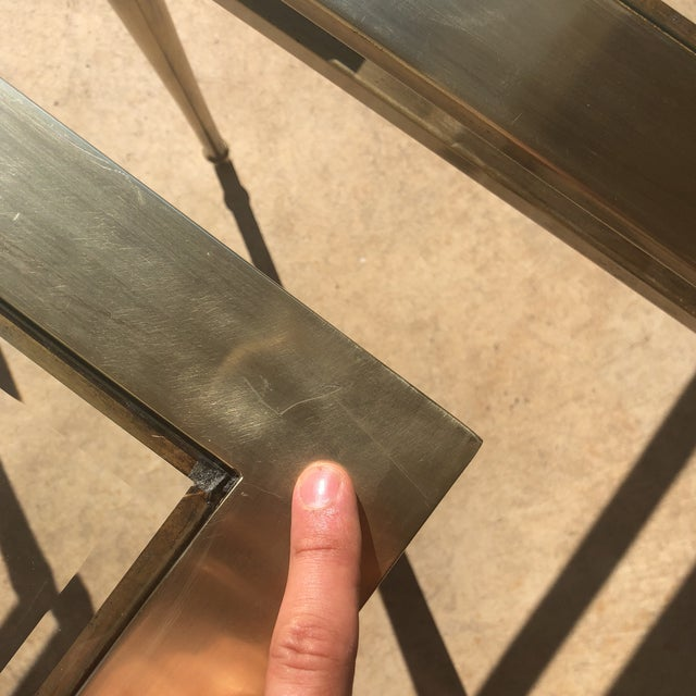 Glass Top Brass End Tables - a Pair For Sale In Milwaukee - Image 6 of 13