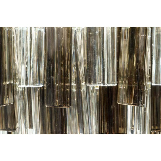 Metal Murano Glass Chandelier Smokey Topaz by Venini for Camer Glass For Sale - Image 7 of 10