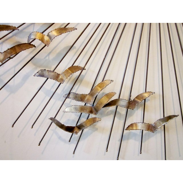 "1960s Willem Degroot Mid-Century Modern Metal Sunburst ""Birds in Flight"" Wall Sculpture For Sale In Chicago - Image 6 of 10"