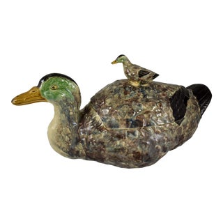 Portuguese Duck w/ Duckling Finial Covered Tureen