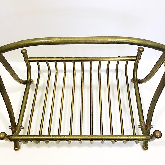 Vintage Brass Magazine Rack For Sale - Image 4 of 8