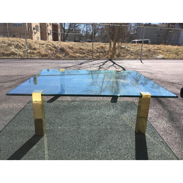 Gorgeous Pace Collection style brass and glass coffee table. Very elegant, has super thick 3/4 inch floating glass with...
