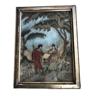 18th Century Antique English Needlework Embroidery Pastoral Scene For Sale
