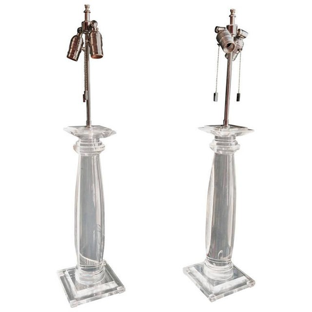 Karl Springer Lucite Column Table Lamps - A Pair - Image 1 of 4