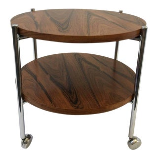 Rosewood and Chrome Two-Tier Folding Side Table For Sale