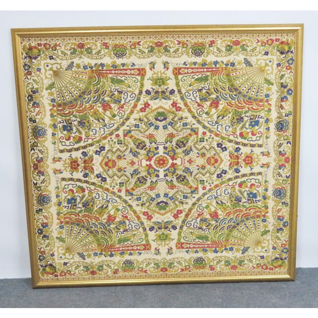 Chinese Large Chinese Framed Tapestry For Sale - Image 3 of 7