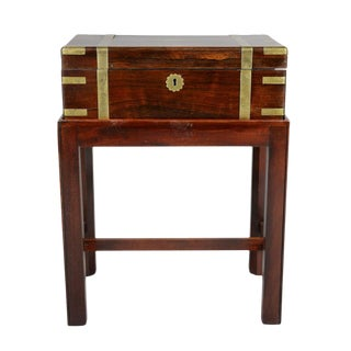 Victorian Rosewood and Brass Banded Lap Desk Table For Sale