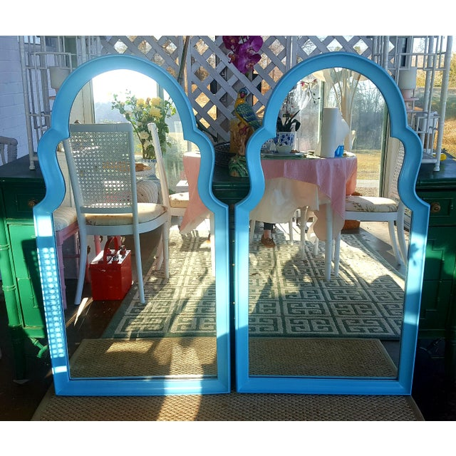 Set of 2- Vintage Moroccan Style Turqouise Blue Mirrors - Image 2 of 10