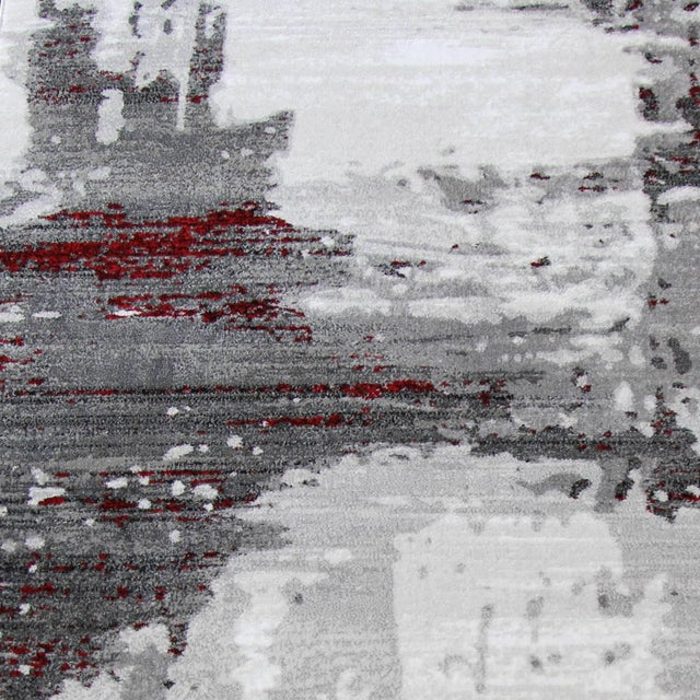 """Contemporary Gray & Red Abstract Rug - 6'7"""" x 9'7"""" - Image 3 of 8"""