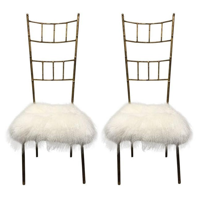 Tall Gold Gilt Gio Ponti Style Chairs with Long Haired Sheep Fur For Sale In New York - Image 6 of 6