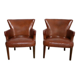 Art Deco Pair of Petite Brown Faux Leather Arm Chairs with Nail Head Accent