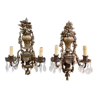 Pair, Antique French Brass Wall Sconces For Sale