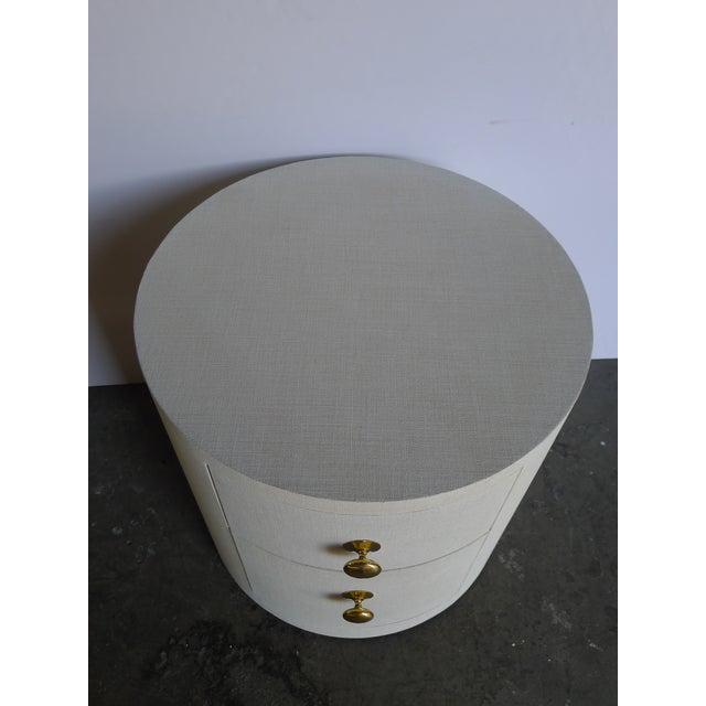 White Paul Marra Linen-Wrapped Round Nightstand For Sale - Image 8 of 9