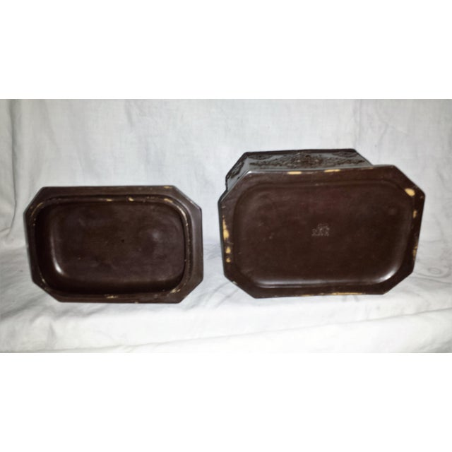 Brown Antique 19C Tobacco Box Pottery Ferdinand Gerbing For Sale - Image 8 of 9