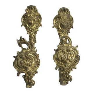 Antique Bronze Drapery Holdbacks - A Pair For Sale