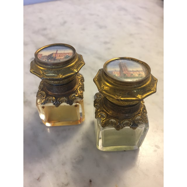 Continental Perfume Shagreen, Mother of Pearl Miniture Trunk With Gilt Filigree Crystal Bottles - 3 Pieces For Sale - Image 11 of 13
