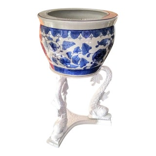 3 Koi Fish Decorative White Planter With Blue and White Chinoiserie Greek Key Ceramic Pot For Sale