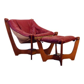"""Mid-Century Leather """"Luna"""" Floating Sling Chair and Ottoman by Odd Knutsen For Sale"""