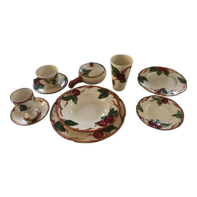 Vintage 1940s Franciscan China Apple Design American Backstamp Dinnerware - 54 Pieces For Sale
