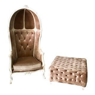 Champagne Tufted Velvet Balloon Chair & Ottoman For Sale