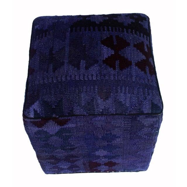 Retro Demetria Purple/Dark. Gray Kilim Upholstered Handmade Ottoman For Sale - Image 4 of 8