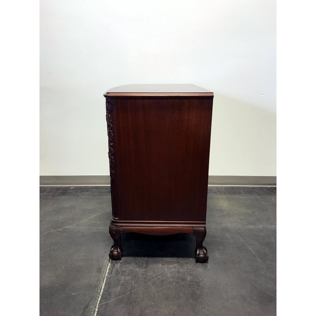Vintage Mahogany Bow Front Bachelor Chest w/ Ball and Claw Feet For Sale In Charlotte - Image 6 of 11