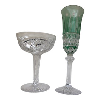 1950s Crystal Champagne Glasses - a Pair For Sale