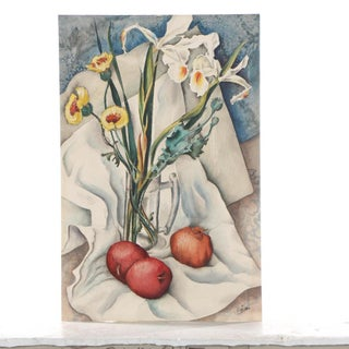 Vintage Mid-Century Still Life With Flowers and Pomegranate Painting Preview