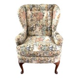 Image of Custom Floral Wingback Chair For Sale
