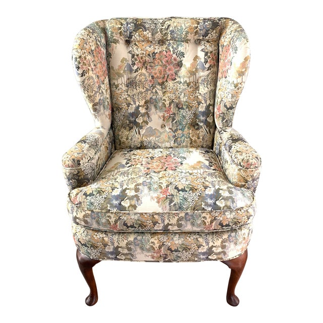 Custom Floral Wingback Chair For Sale