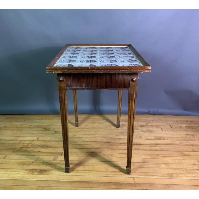 19th Century Louis XVI Style Table, Manganese Faiance Tiles For Sale - Image 4 of 10