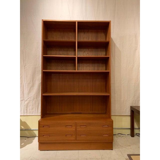 Wood Pair Poul Hundevad Danish Modern Teak Bookcases Shelves W. 4-Drawer Chest Base For Sale - Image 7 of 9