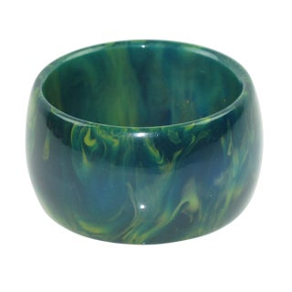 Bakelite Blue-Moon Marble Oversized Wide Shape Bangle Bracelet For Sale