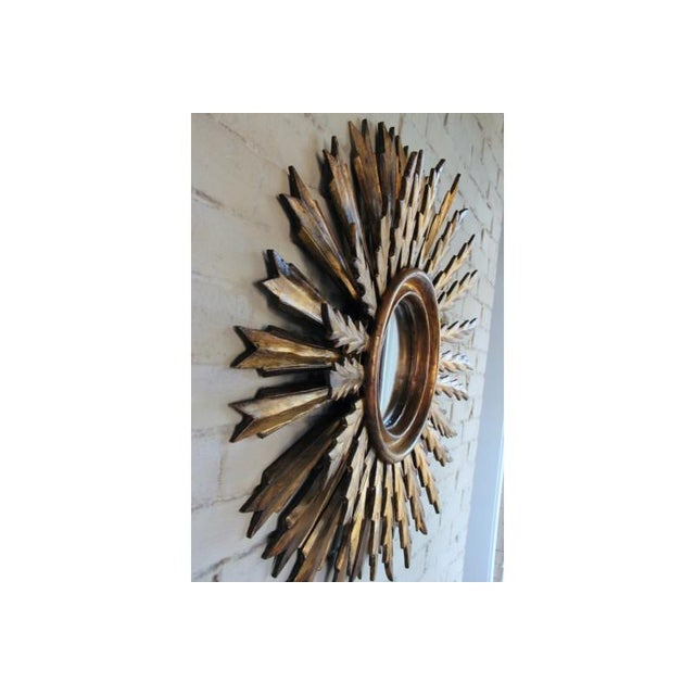 Mid-Century French Double Layer Sunburst Mirror With Original Mirror Glass For Sale - Image 9 of 10