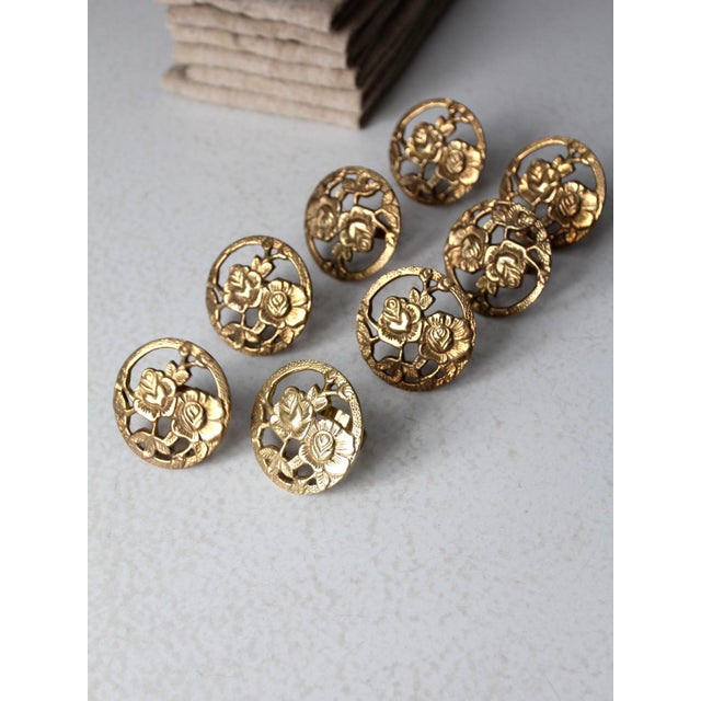 Metal Vintage Brass Napkin Rings - Set of 8 For Sale - Image 7 of 10