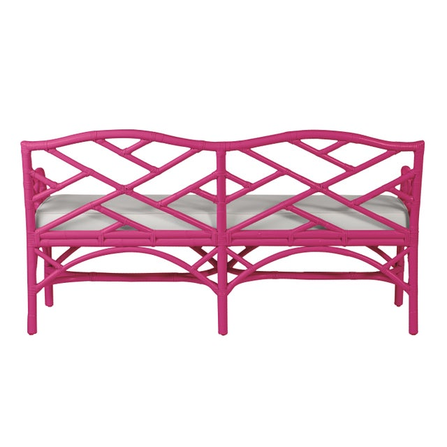 Chippendale Chippendale Bench - Bright Pink For Sale - Image 3 of 6
