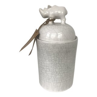 Rhinoceros White Crazed Ceramic Lidded Jar For Sale