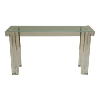 Mid-Century Lucite Console with Inset Glass Top For Sale