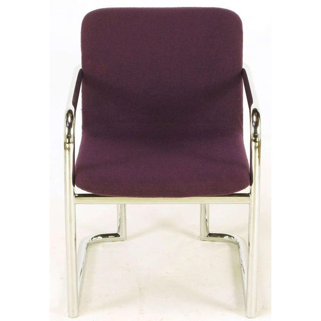 Pair Chrome & Violet Wool Sled Arm Chairs - Image 4 of 9
