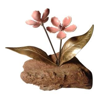 Mid Century Pink Enamel on Metal Flower on Wood Base For Sale