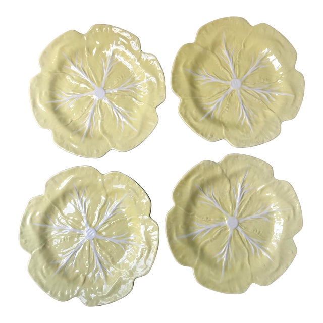Vintage 1970s Bordallo Pinheiro Yellow Cabbage Leaf Chargers - Set of 4 For Sale