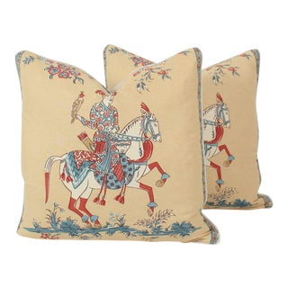 Chinoiserie Linen Emperor Pillows 24x24 Square, a Pair For Sale