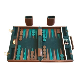 Vintage 1960s Aries of Beverly Hills Green Crushed Velvet Backgammon Set For Sale