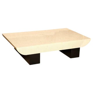 Karl Springer Tessellated Bone and Black Lacquer Over Wood Cocktail Table For Sale
