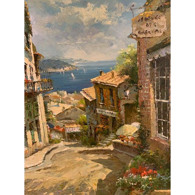 1990s Vintage Original Italian Street Scene Painting For Sale In San Diego - Image 6 of 13