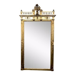 Large Gilt 19th C. French Over-Mantle Mirror With Carved Putti For Sale