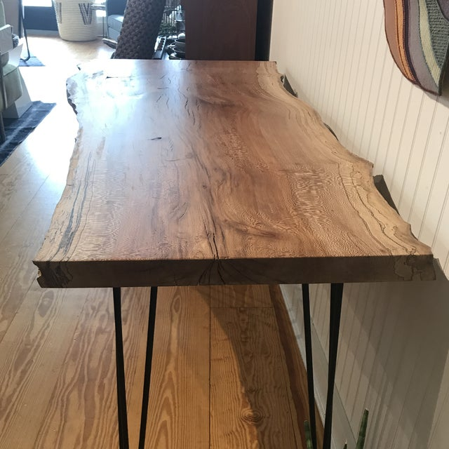 Organic Modern Live Edge Maple Slab Desk With Hairpin Legs For Sale In New York - Image 6 of 12
